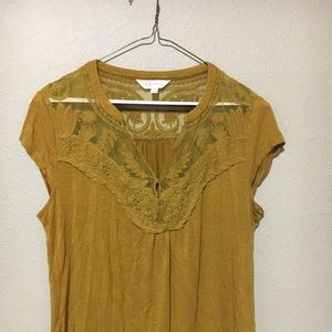 Adiva Size M Yellow Shirt with Lace Detail
